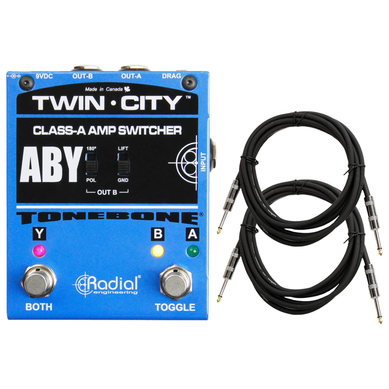Radial Engineering Twin-City Bones ABY Amp Switcher/Selector w/ 2 Cables