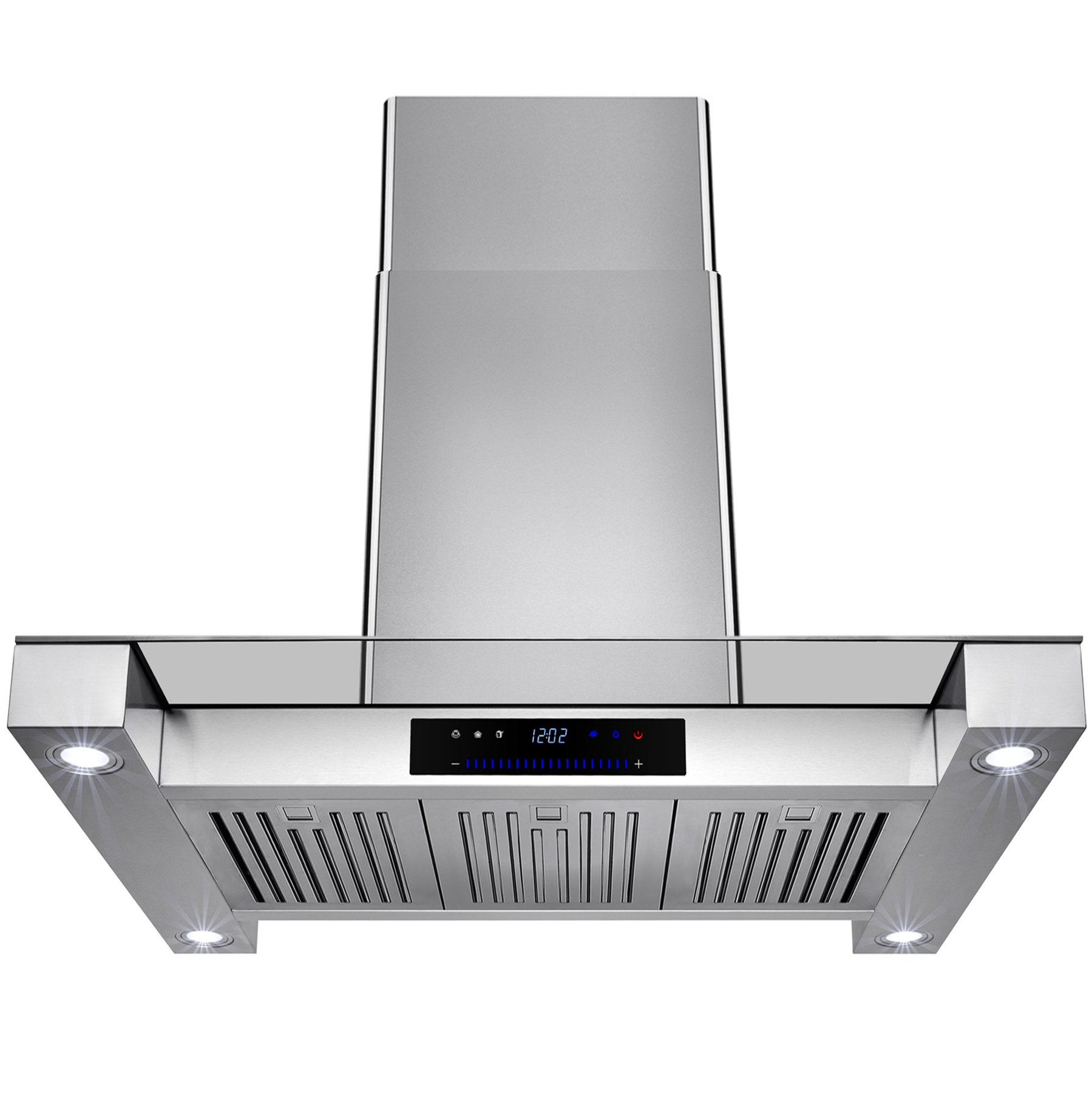 Golden Vantage 36'' Inch Convertible Stainless Steel Island Mount Range Hood Cooker Fan Oven Vent Exhaust With Touch Screen Panel Display LED Controls Light Lamp Baffle Filters