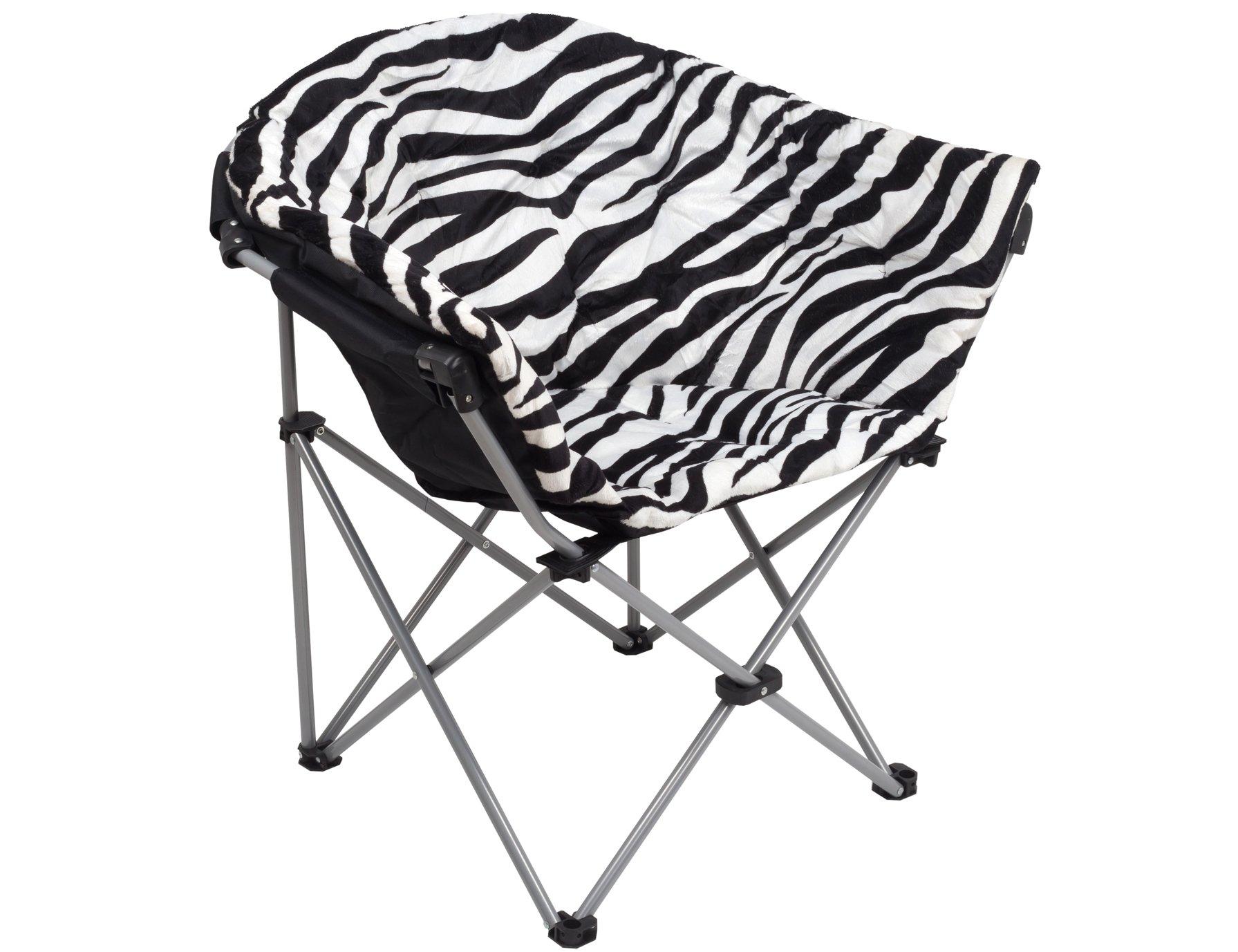 GOJOOASIS Folding Saucer Chair Moon Round Soft Comfortable Club Seat for TV Living Room Dorm (Zebra)