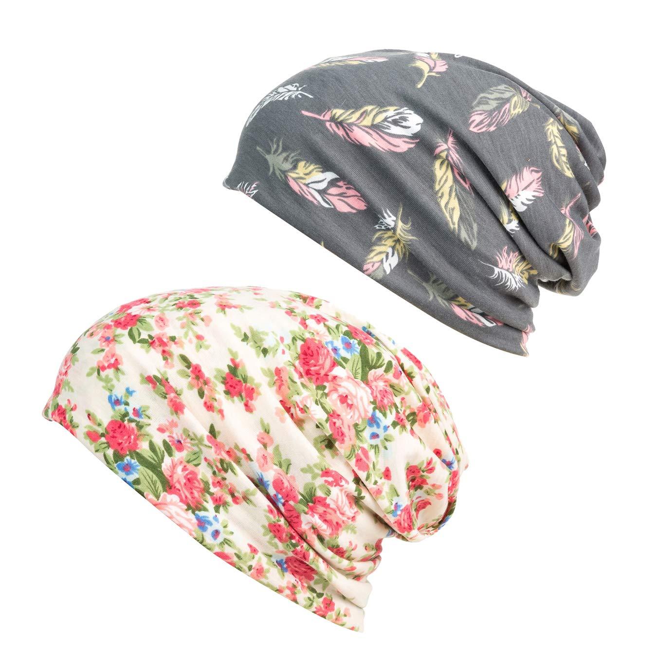 HONENNA Printed Turban Headband Chemo Cap Cotton Soft Sleep Beanie ... (Gray+Begin) by HONENNA