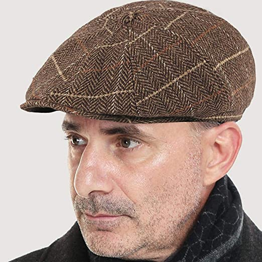 TOSKATOK/® Gorras Planas Boinas de Tweed para Hombre