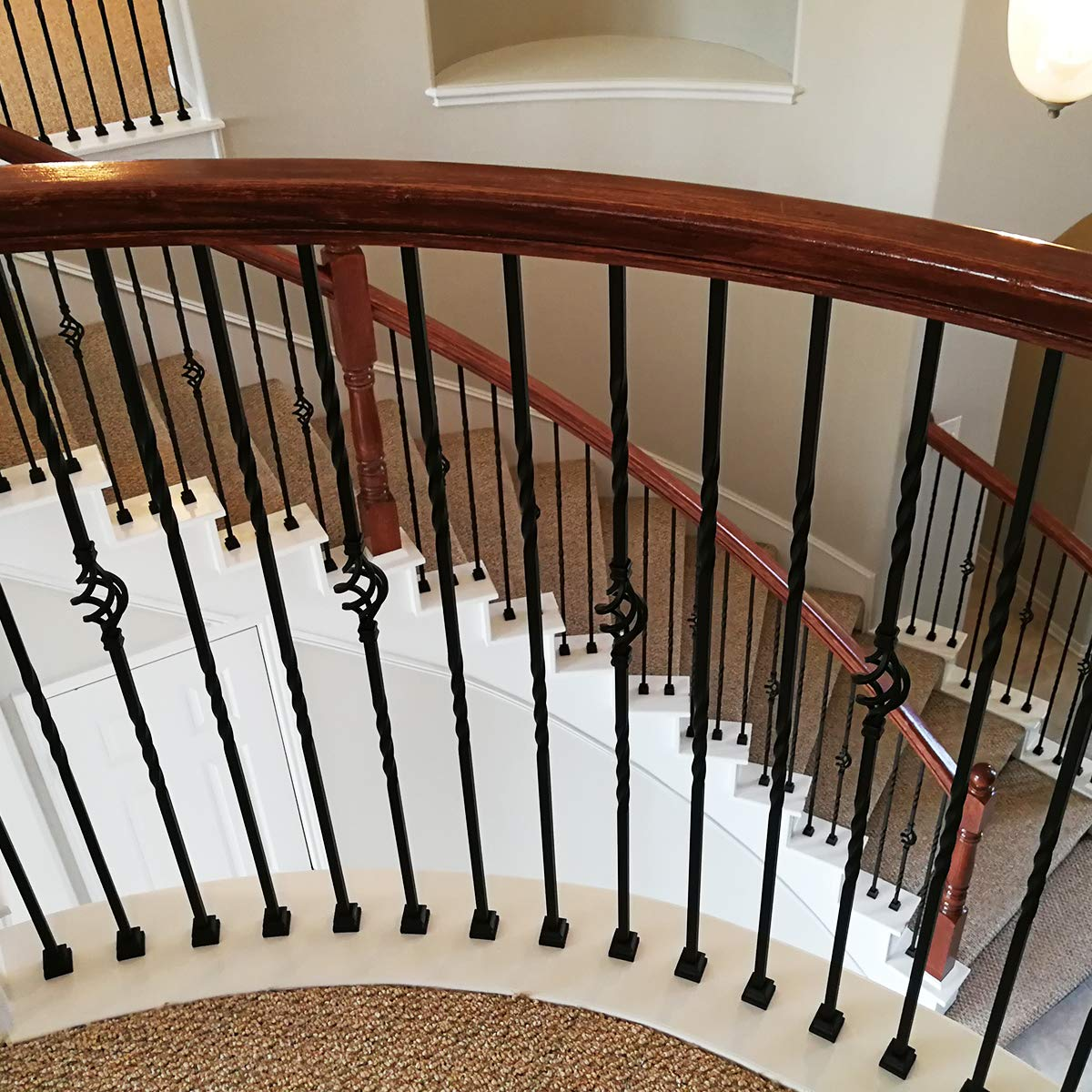 Real Satin Black not Matte Box of 5 Staircase Iron Balusters Stair Parts Double Twist 1//2 Square Metal Balusters Hollow Staircase Metal Spindles