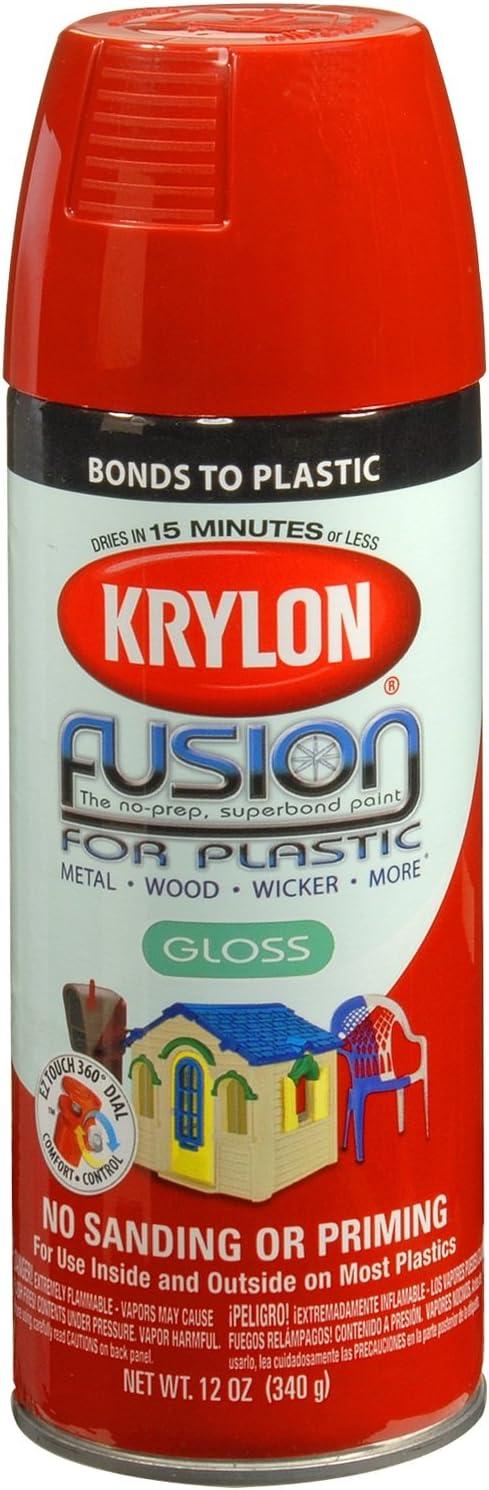 Krylon K02328007 Fusion for Plastic Aerosol Spray Paint, 12-Ounce, Red Pepper, 12 oz