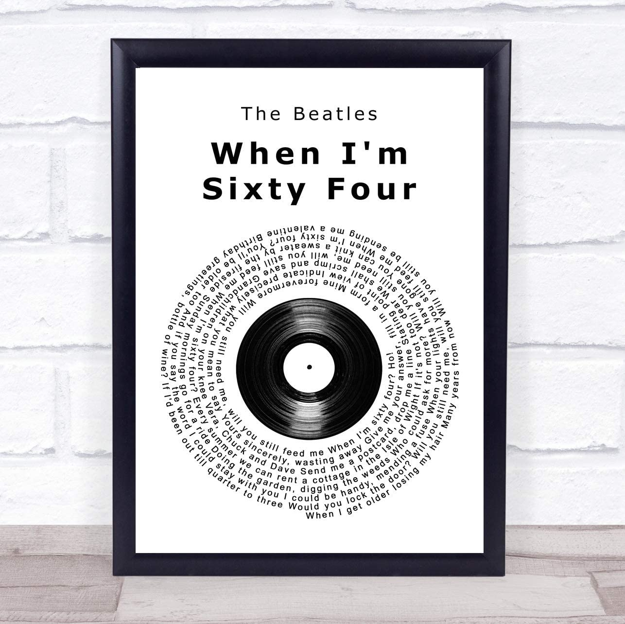 Cedbuyoo The Beatles When Im Sixty Four Vinyl Record Song Lyric Quote Print 10 X 8 Inches Posters Prints