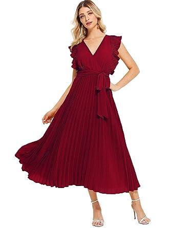 08b4ffac0180 DIDK Femme Robe Long Plissée Col V sans Manches pour Mariage invité avec  Ceinture Élégant  Amazon.fr  Vêtements et accessoires