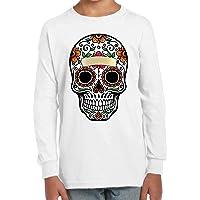 Camiseta Manga Larga de NIÑOS Skull Calavera Mexico Halloween 030