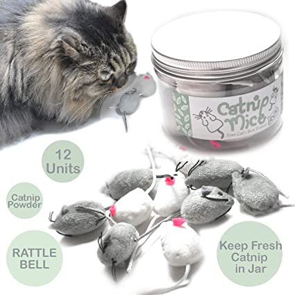 Amazon Com Ballmie Catnip Mice For Cat Toys With Rattle Bell