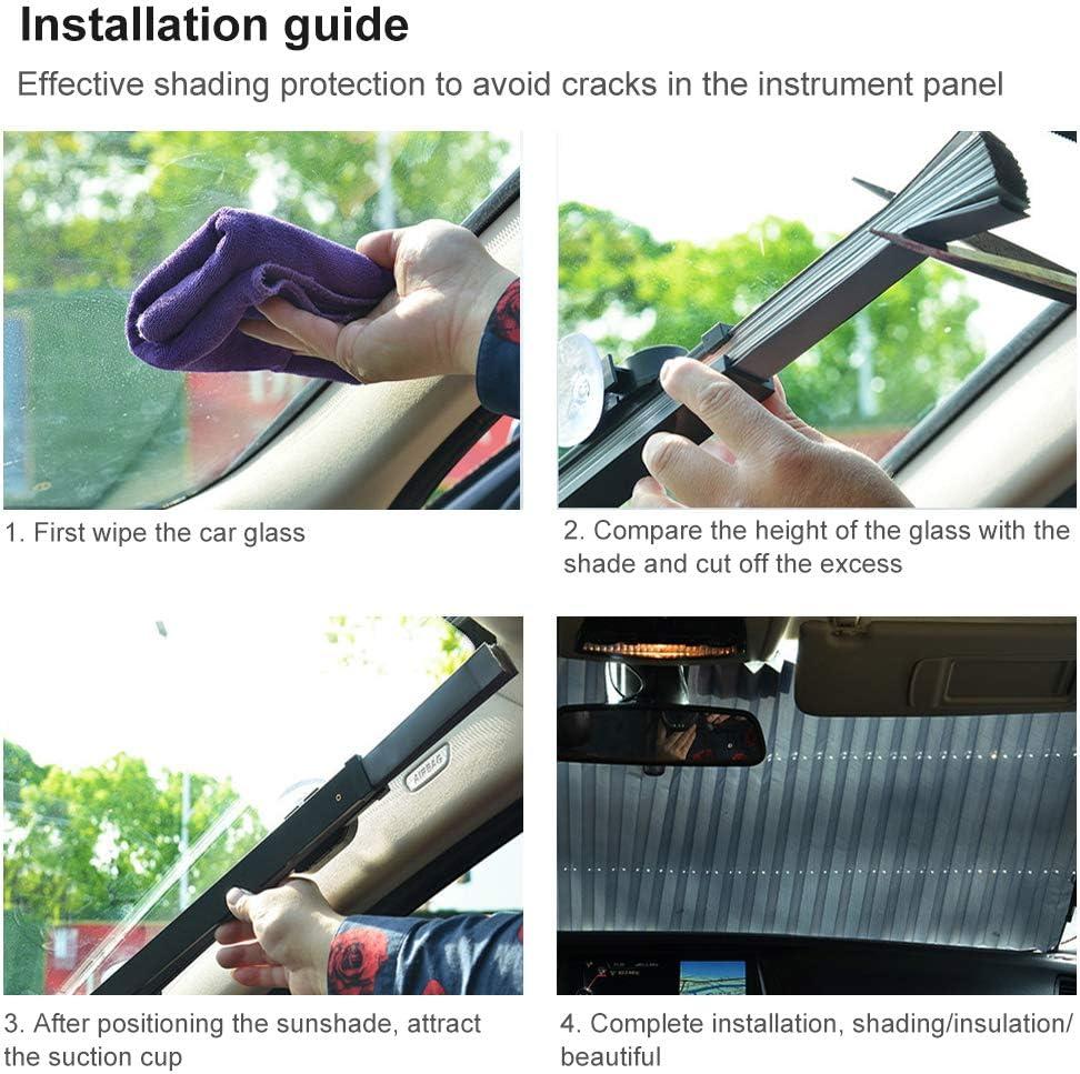 BESTEU - Protector solar retráctil para coche con aislamiento térmico y sombreado para el interior del parabrisas delantero: Amazon.es: Coche y moto