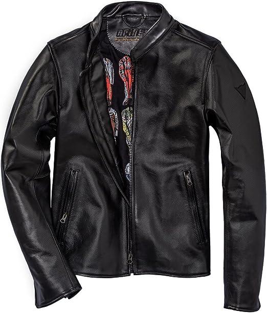 Dainese Nera72 perforierte Motorrad Lederjacke schwarz