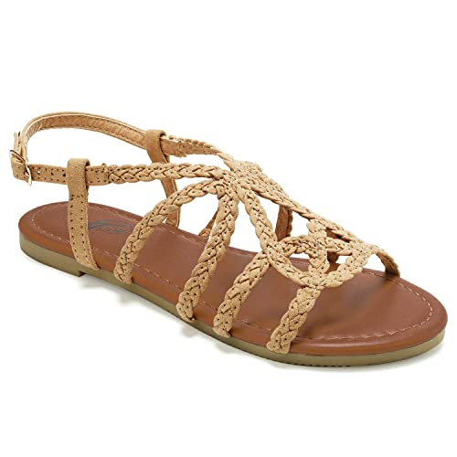 e3cc0ac6b49 Trary Braided Strap Open Toe Summer Flat Sandals for Women