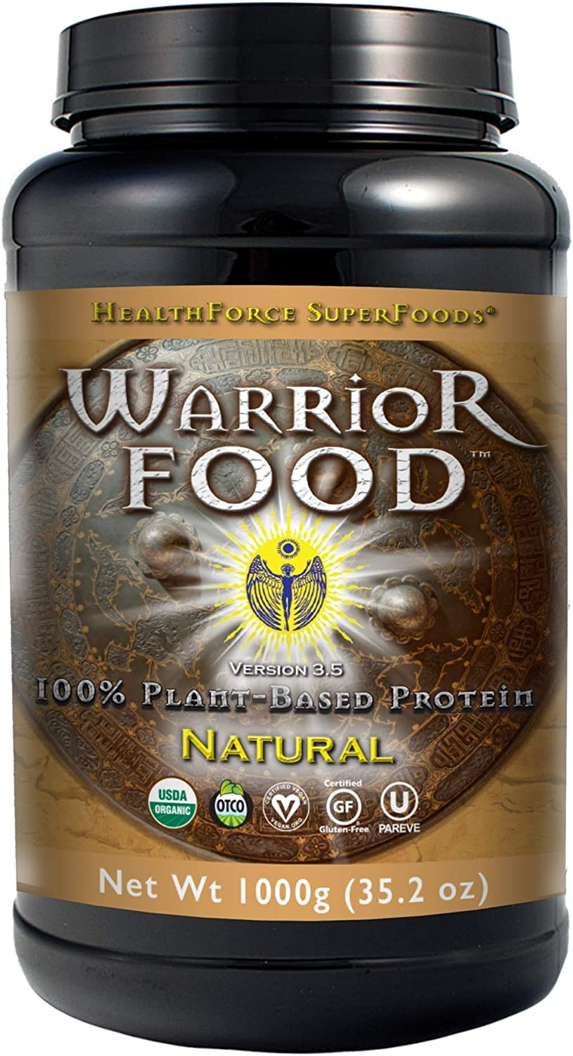 HealthForce SuperFoods Warrior Food - 1000 Grams, Natural Flavor - All Natural Plant Based Protein Powder, Easy to Digest - Organic, Non GMO, Vegan, Gluten Free - 50 Servings