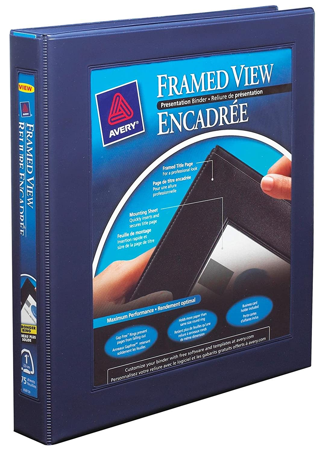 Black 2 Pockets 175 Sheet Capacity 68054 One Touch Locking D Rings 1 Inch Avery Framed View 3 Ring Binder