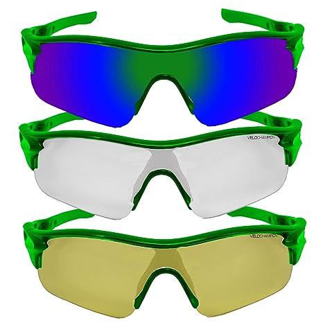 VeloChampion Warp Gafas de Sol (con 3 Lentes: Inc Verde, Amarillo, Claro) Fluro Verde Green Sunglasses
