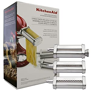 KitchenAid KPRA Pasta Roller Attachment for Stand Mixers With Free Pasta Rack Stand