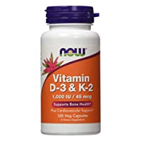 NOW Supplements, Vitamin D-3 & K-2, 1,000 IU/45 mcg, Plus Cardiovascular Support...