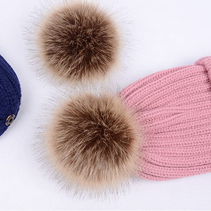 2436f8f6d93 TINKSKY Winter Knit Beanie Bobble Hat Cap With Double Pom Pom Ears  Christmas Gift For Women Girls (Pink) at Amazon Women s Clothing store