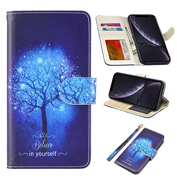 new concept 8c3e9 be902 UrSpeedtekLive iPhone XR Case 6.1 inch(2018), iPhone XR Premium PU Leather  Wristlet Flip Wallet Case Cover with Card Slots & Stand-Believe in Yourself