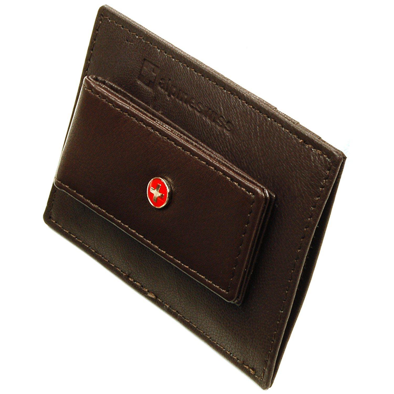 Alpine Swiss Men's Top Grain Leather Slim Line Money Clip Wallet Brown By Alpine Swiss