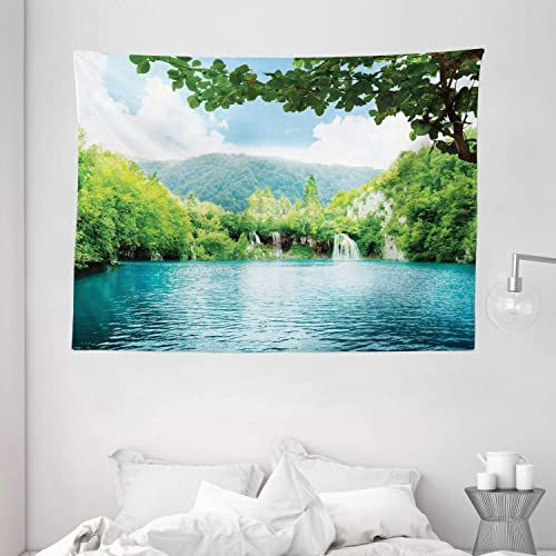 Ambesonne Rustic Tapestry, Lake in Deep Forest Fed by Several Waterfalls in Summer Idyllic View Print, Wide Wall Hanging for Bedroom Living Room Dorm, 80 X 60 , Blue Green