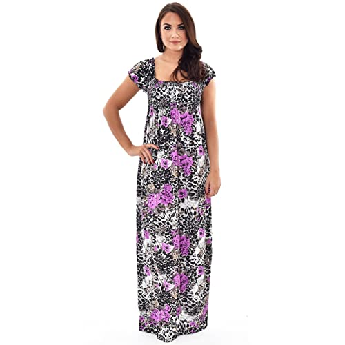 Womens Summer Maxi Dresses Short Sleeves Floral Animal Print Tiger Leopard