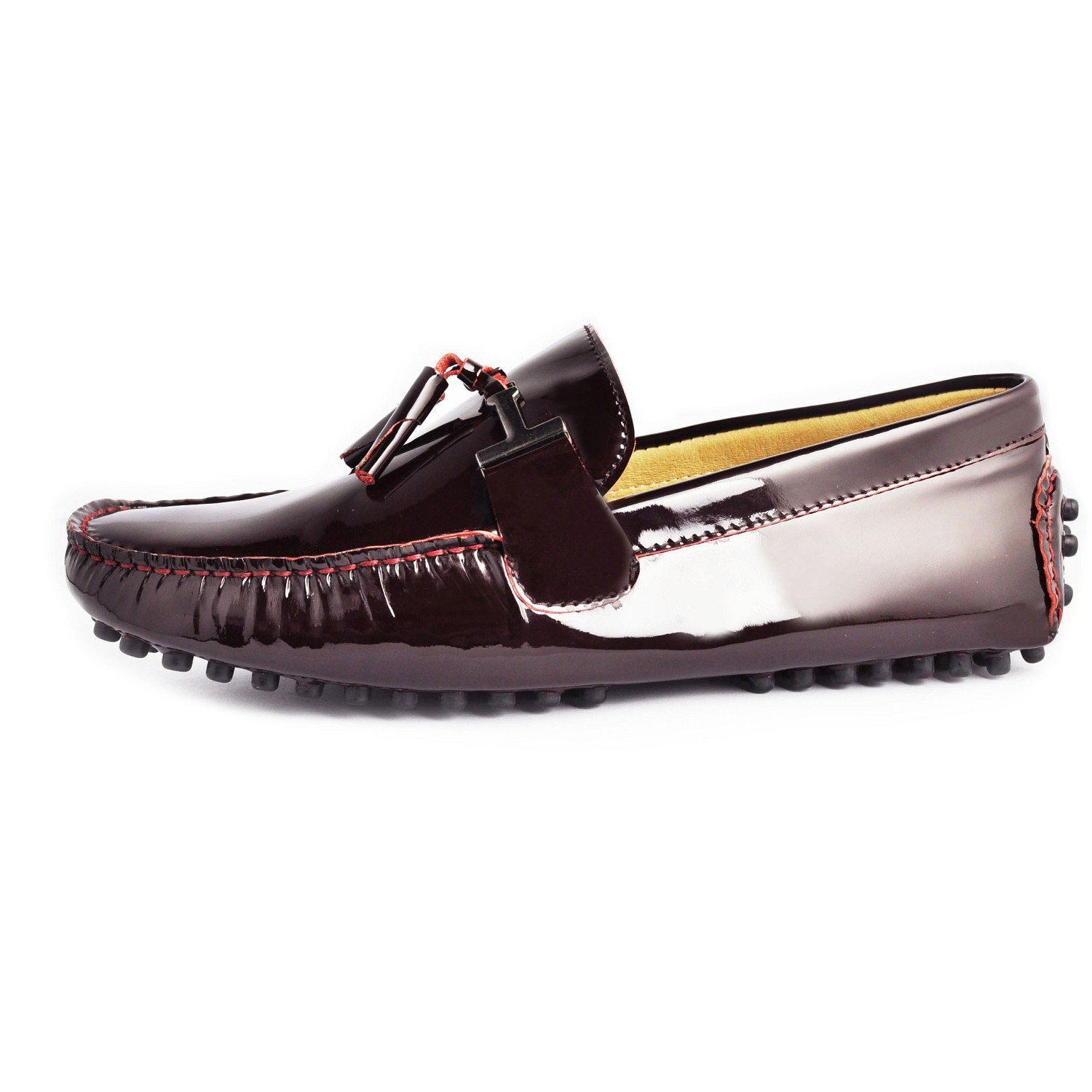 f938f2d3a8c3d Fulinken New Patent Leather Men Tassel Slip on Loafers Casual Shoes Diving  Shoes Dress Shoe (8, Burgundy): Amazon.ca: Shoes & Handbags