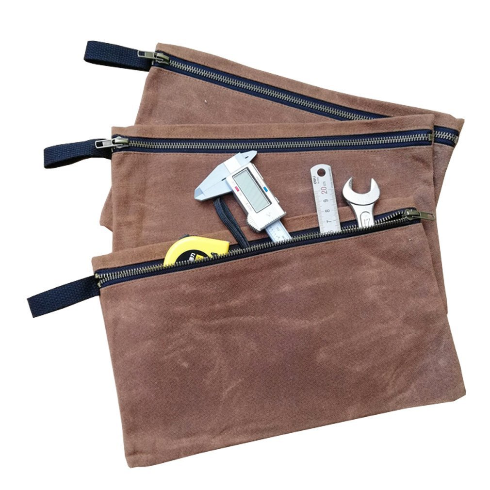 Waterproof Waxed Canvas Small Tool Bags with Zipper Heavy Duty Multi-Purpose Storage Pouches Utility Tool Organizer Or Company Security Bank Deposit Bag HGJ01-B-US Set of 3 Camel