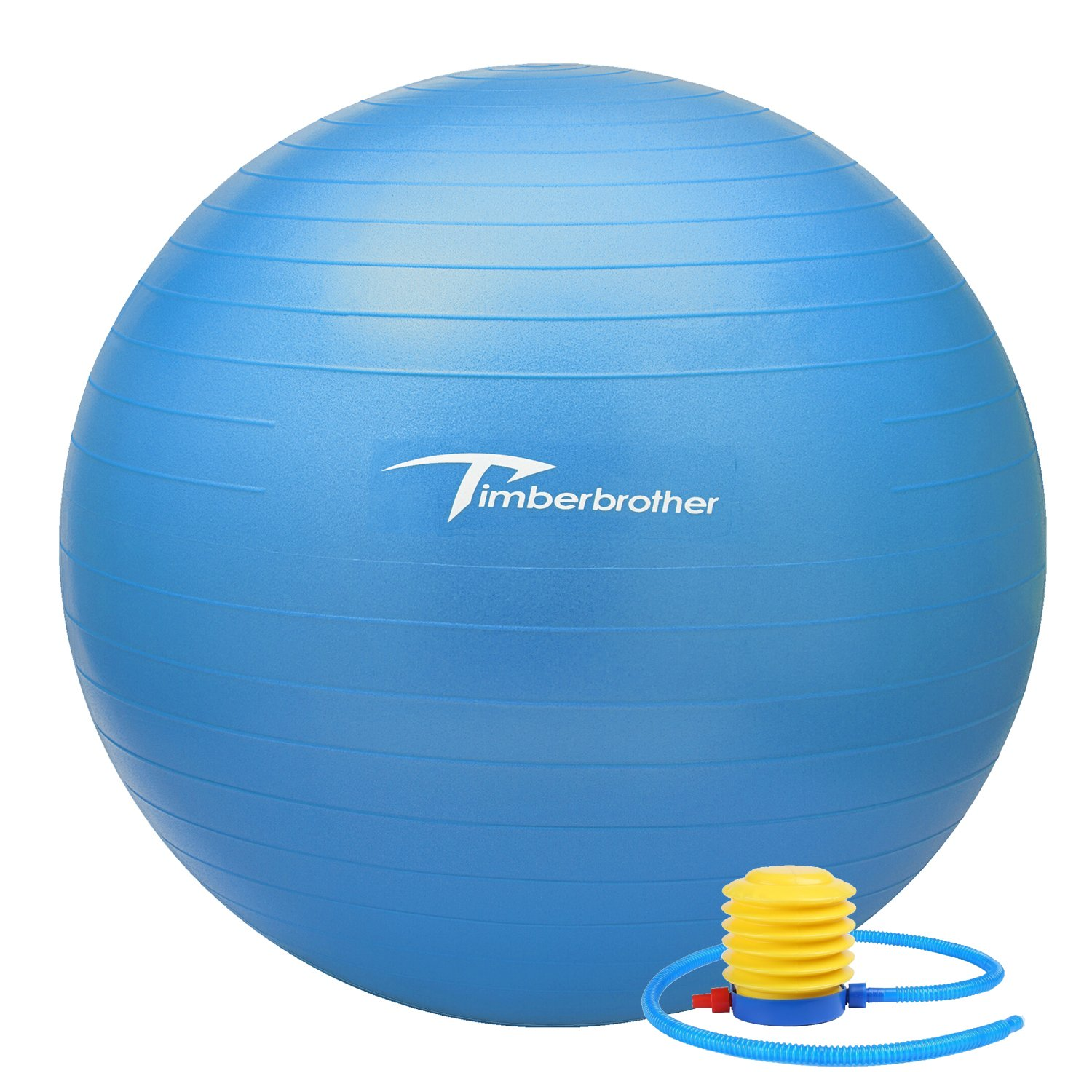 Timberbrother Anti-Burst Exercise Stability Ball / Fitness Ball / Balance Ball with Foot Pump - 55cm / 65cm / 75cm (Blue, 75cm)