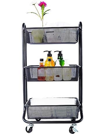 DESIGNA carro de almacenamiento con enrollamiento de malla metálica de 3 niveles con mango de utilidad