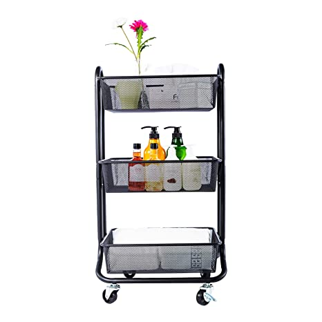 e2bbbfedc2bf DESIGNA 3-Tier Metal Mesh Rolling Storage Cart with Utility Handle, Black