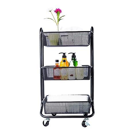 Amazoncom Designa 3 Tier Metal Mesh Rolling Storage Cart With