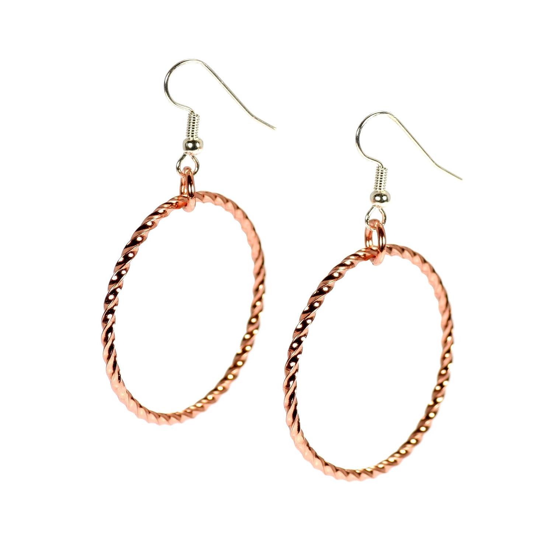 ca58bb751 Amazon.com: Twisted Copper Hoop Earrings - Handmade Copper Earrings -  Anti-tarnish: Jewelry