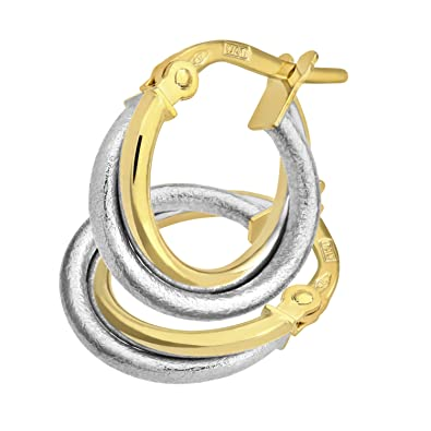 21f25ab1a Citerna 9 ct Yellow and Diamond Cut White Gold Twist Hoop Earrings:  Amazon.co.uk: Jewellery