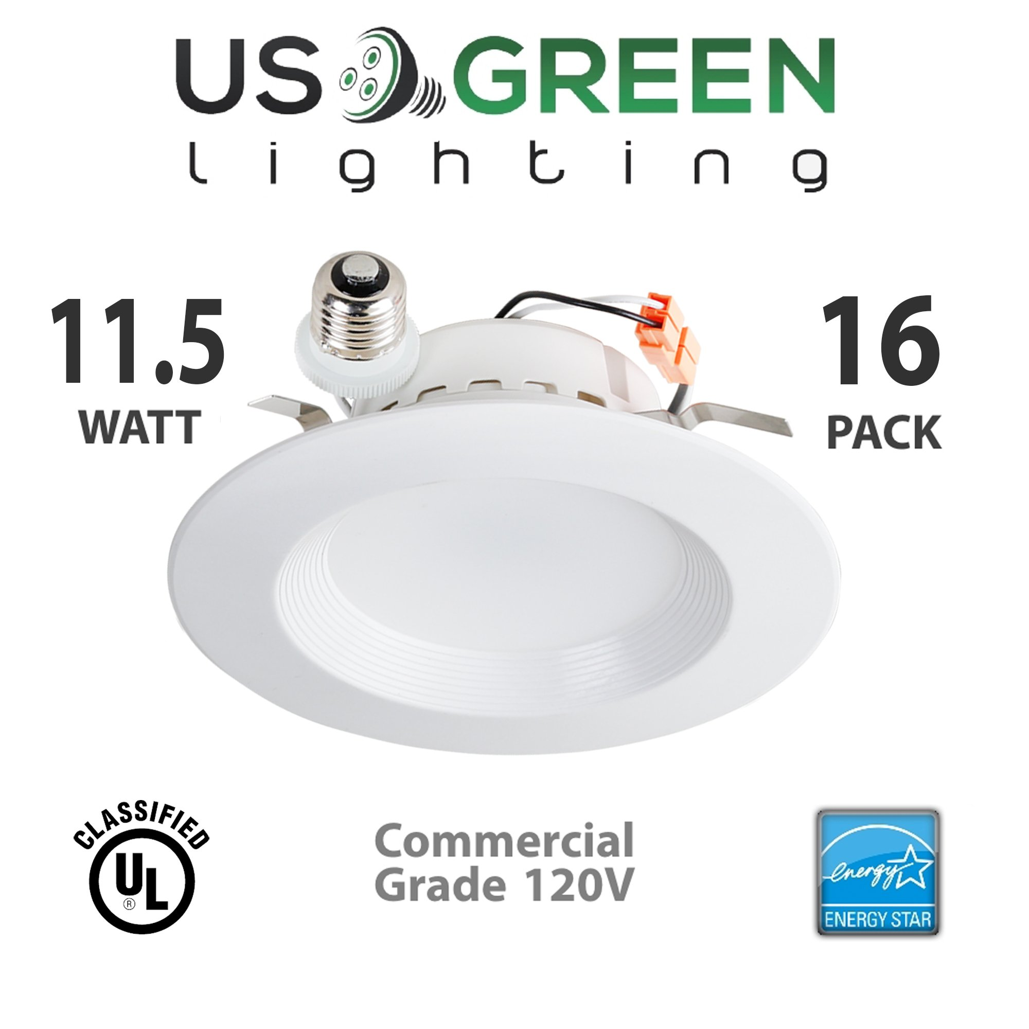 16 Pack 11.5W LED 4000K (Cool White) 5''/6'' Recessed Can Retrofit Downlight, Dimmable, 650 Lumen, Energy Star, 90 CRI, 75W replacement, Low Profile by US Green Lighting