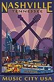 Nashville, Tennessee - Skyline at Night (9x12 Art Print, Wall Decor Travel Poster)