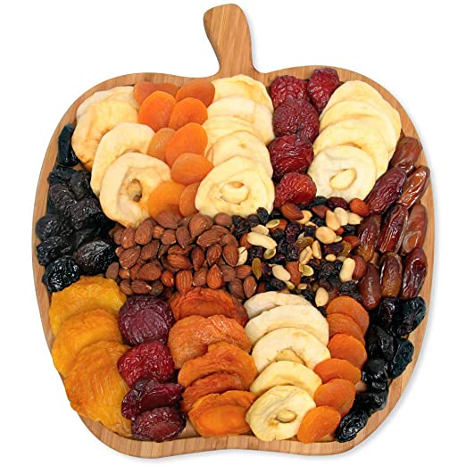 Dried Fruit & Nuts Platter Gift on Wooden Apple Board Tray for Prime Delivery - Gourmet Food Gifts Basket