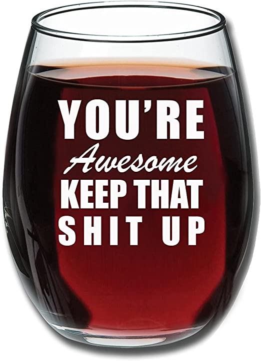 Amazon.com: Youre Awesome - Copa de vino divertida de 38 ml ...