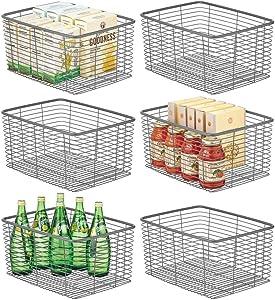 mDesign Farmhouse Decor Metal Wire Food Organizer Storage Bin Basket for Kitchen Cabinets, Pantry, Bathroom, Laundry Room, Closets, Garage - 6 Pack - Graphite Gray