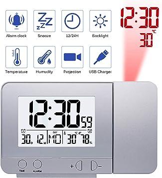 Amazon.com: Reloj de proyector con pantalla LED con ...