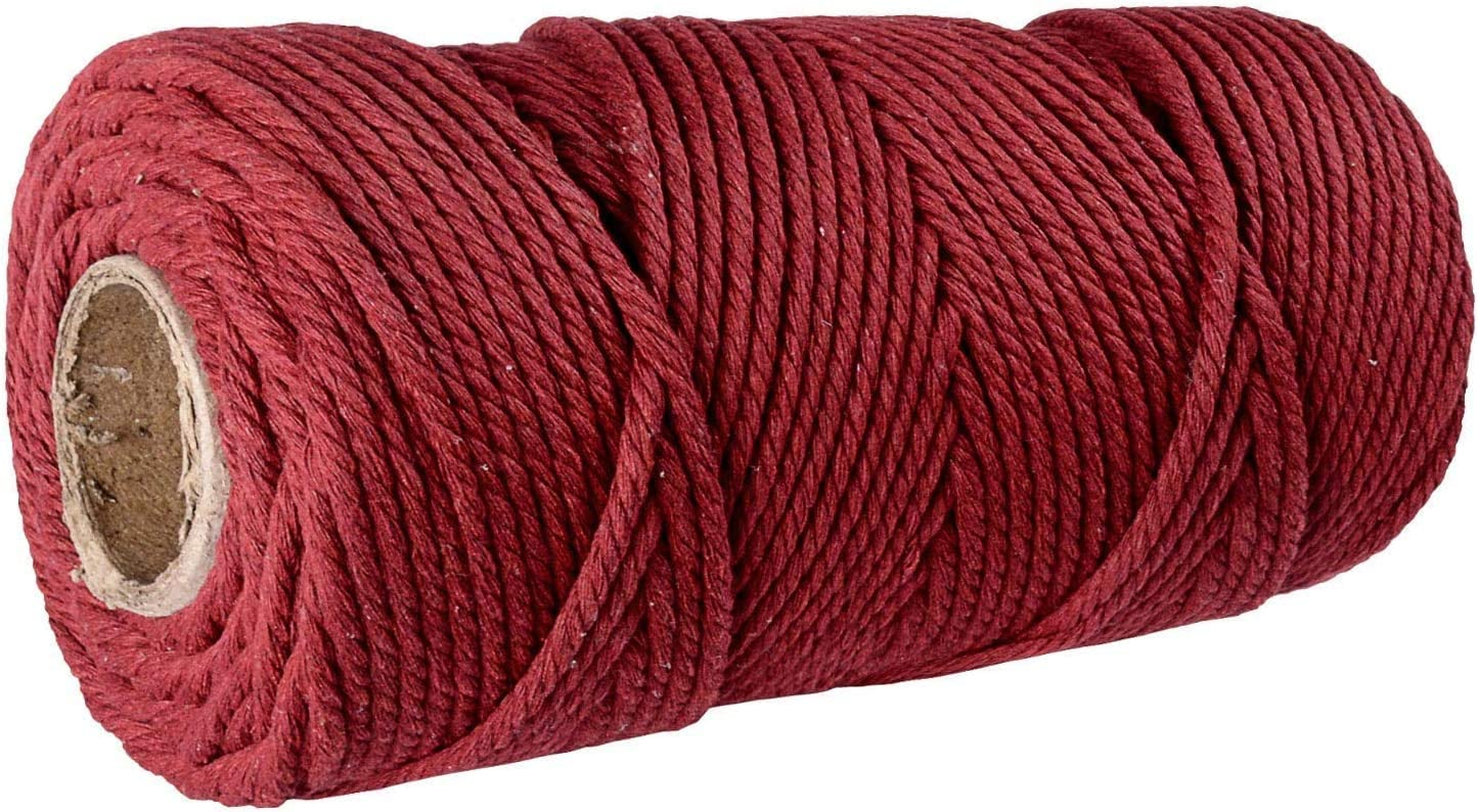 SANGTQ 3mm Macrame Cord,328Feet Polyester Cotton Macrame Rope Knitting,Soft Undyed Cotton Rope 4-Strand Twisted Cotton Cord for Wall Hanging Plant Hangers Crafts Dark Red, 3mm109yards