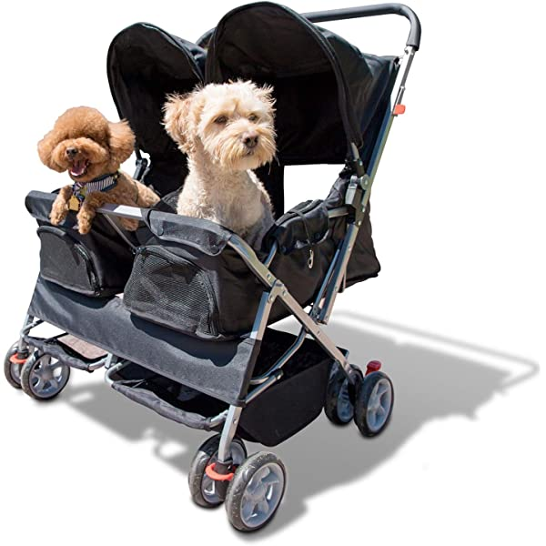 Amazon Com Paws Pals Double Pet Stroller 4 Wheels Lightweight Two Puppy Dog Cat Strollers Best For Walking 2 Small Medium Size Animal Cats Or Dogs Foldable Pets