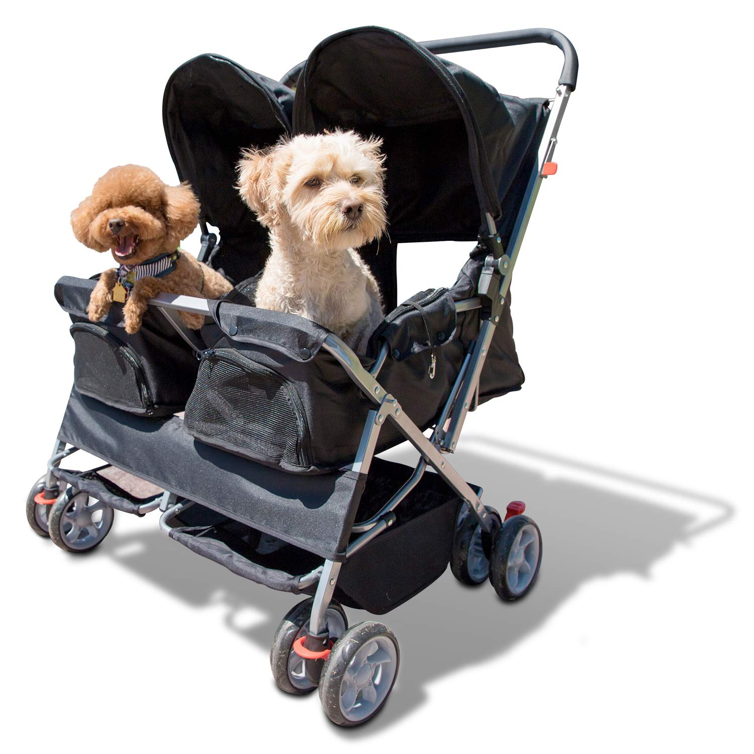 Paws & Pals Double Pet Stroller – 4 Wheels Lightweight Two Puppy, Dog & Cat Strollers – Best for Walking 2 Small/Medium…