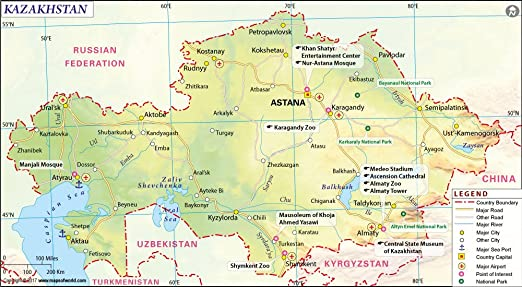 Kazakhstan map 36 w x 1982 h amazon office products publicscrutiny Image collections