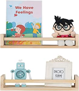 Joiishom Set of 2 Rustic Wood Nursery Book Shelves, Floating Bookshelf for Kids Room, Floating Nursery Shelves or Wall Mounted Shelves for Farmhouse Bathroom Decor (Natural Wood)