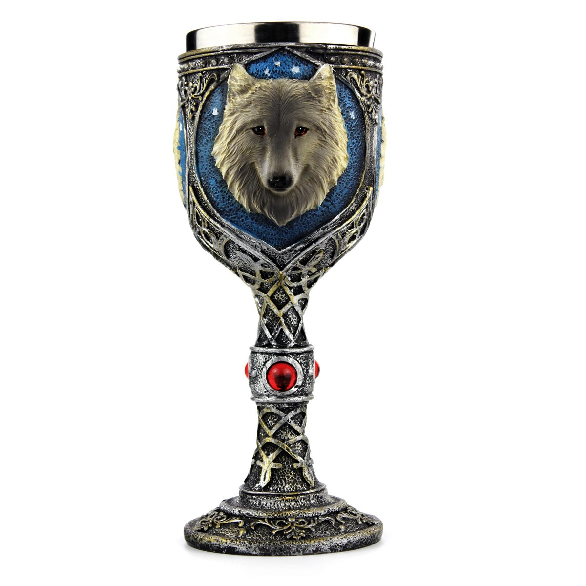 Stainless Steel Wolf Goblet, EZESO Resin 3D Wolf Coffee Cup Stainless Steel Travel Tea Wine Beer Mugs(Goblet)