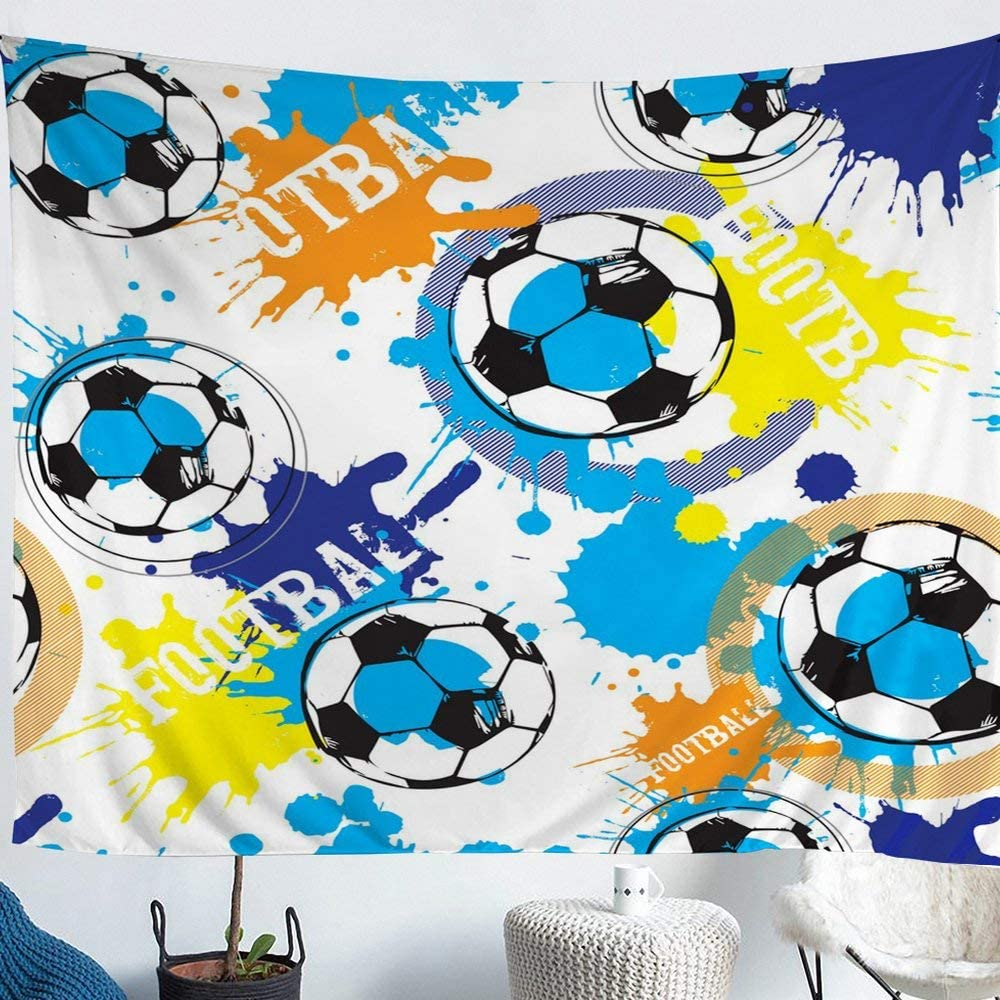 Football Wall Hangings Art Watercolor Tie Dye Boys Soccer Tapestry Small 51x59,Ball Game Tapestries for Teens Child,European Sports Table Cloths Boho Hippie Gypsy Living Room Decor Blue Orange Yellow