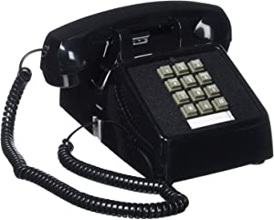 Single Line 2500 Classic Analog Desk Phone with Volume Control, 2 Ports, Handset and Line Cord Included, Black
