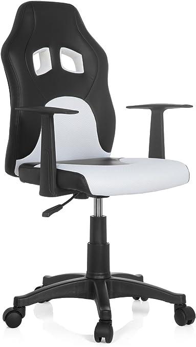 hjh Office 670730 Teen RAYCER AL Chaise de Bureau pour Enfant Tissu NoirBlanc