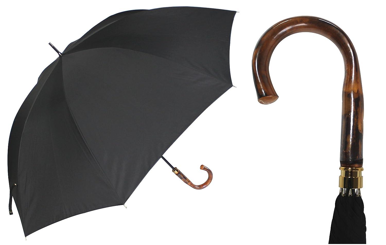 紳士のこだわり傘オールカーボン骨一級遮光生地持続耐水性素材高級天然えご手元純金露先止めLサイズ70cm手開き傘 B01E5KDTIK