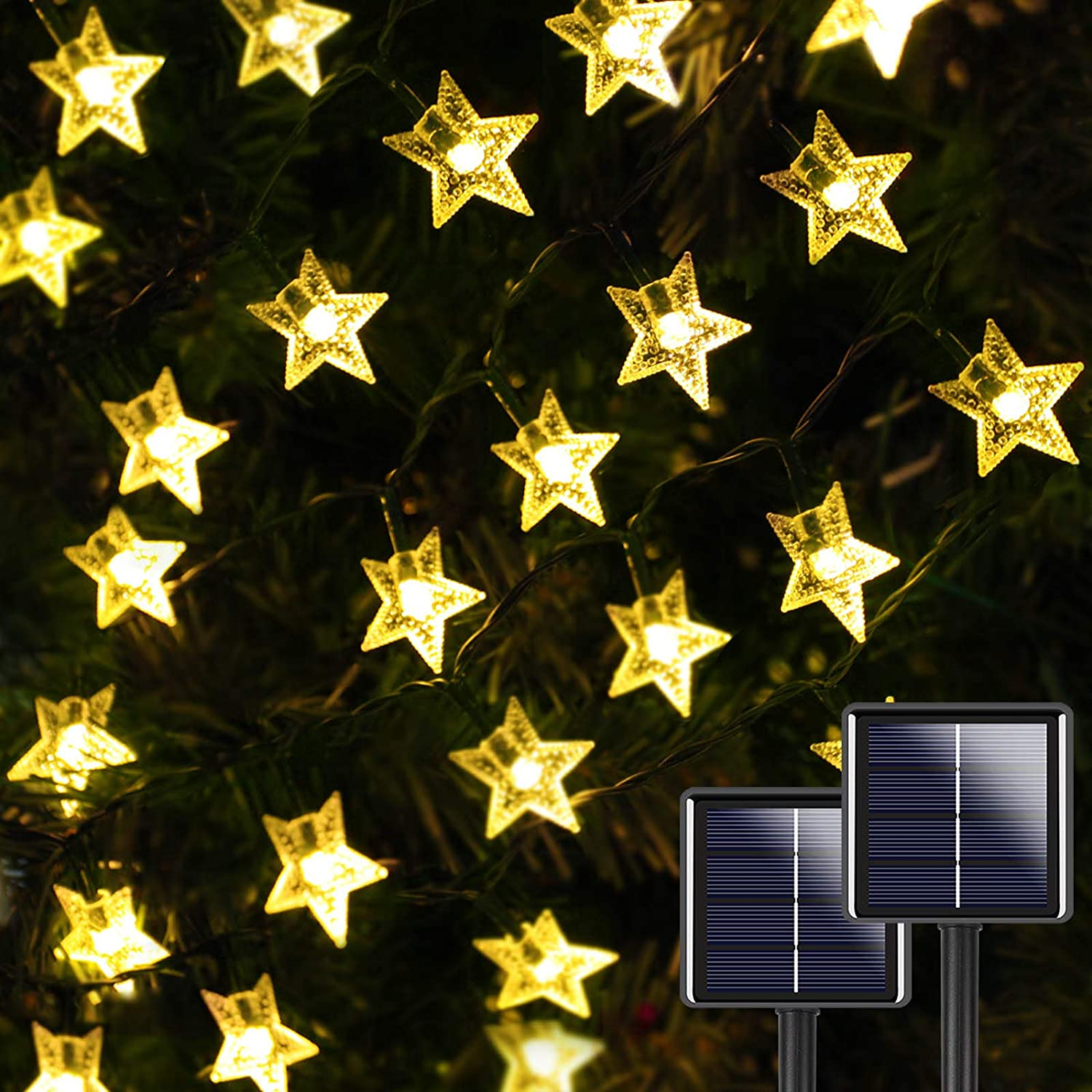 2-Pack 200 LED 40FT Star Solar String Lights Outdoor, Star Solar Lights Outdoor Decorative with 8 Lighting Modes, Solar Powered Patio Lights for Garden Yard Wedding Party (Warm White)