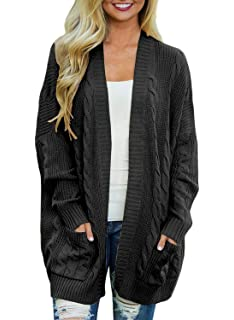 6875d2d84d Doballa Women s Boyfriend Open Front Long Sleeve Cable Knit Aran Twisted Cardigan  Sweaters Coat With Pockets